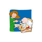 Baby eating. A tender baby is eating with Mum!! Vector illustration. You can find other 4 scenes on my portfolio: Baby bathing, Baby walking, Baby sleeping, Kids vector illustration