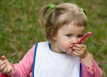 Baby eating Royalty Free Stock Images