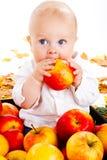 Baby eating apple stock image
