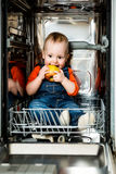 Baby eating apple in dishwasher Royalty Free Stock Photos