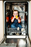 Baby eating apple in dishwasher Stock Photos
