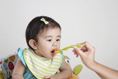 Baby eating baby food. Cute baby eating baby food Stock Image