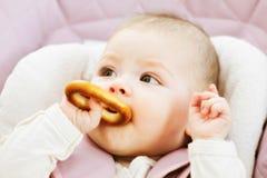 Baby eating bagel Stock Photos