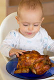 Baby eating a big grilled chicken. One year old baby boy eating a big grilled chicken Stock Images