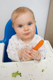 Baby eating carrot. S at home, all soiled vegetables, healthy nutrition of infants Stock Photos
