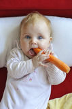Baby eating a carrot. At home with funny face Royalty Free Stock Photos