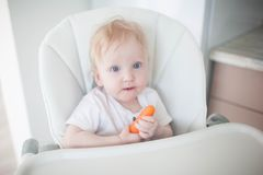 The baby is eating carrots. stock photo