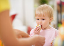 Baby eating Easter cookie Royalty Free Stock Photos