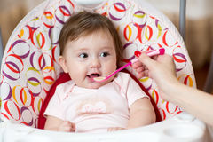 Baby eating food with mother help Stock Images