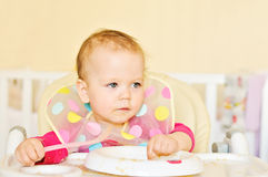 Baby is eating Royalty Free Stock Images