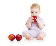 Baby eating healthy food royalty free stock image