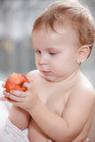Baby eating healthy food Royalty Free Stock Photos