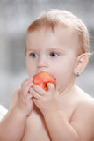 Baby eating healthy food Stock Photo