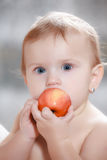 Baby eating healthy food Stock Images