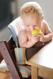 Baby eating healthy food Royalty Free Stock Photo