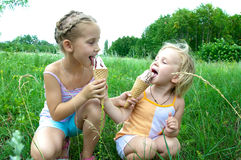 Baby eating ice cream Royalty Free Stock Images