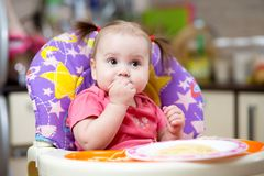 Baby Eating Pasta Stock Image