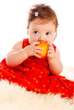 Baby Eating Peach Royalty Free Stock Photos