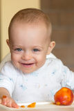 Baby eating a peach. One year old baby eating a peach Royalty Free Stock Photography