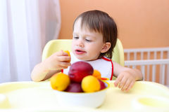 Baby eating peaches and apricotes Stock Image