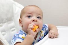 Baby eating pumpkin Stock Image