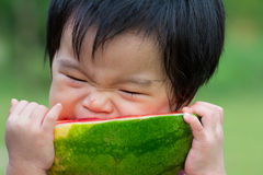 Baby eating watermelon stock photography