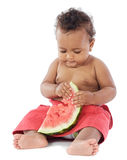 Baby eating watermelon Royalty Free Stock Photography