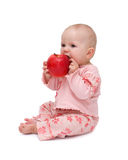 Baby eats an apple. Lovely baby eats an apple - isolated Royalty Free Stock Images