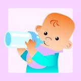 Baby eats food milk bottle. Childhood family and feeding. Baby eats food milk bottle Stock Images