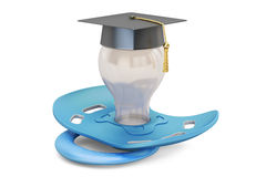 Baby education concept, pacifier with graduation cap. 3D renderi Royalty Free Stock Photo