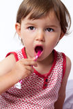Baby education in tooth brushing Stock Photography