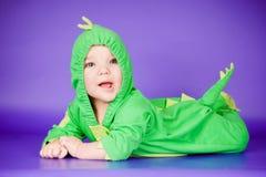 Baby in een grappig kostuum royalty-vrije stock afbeeldingen