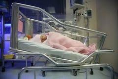 Baby in een incubatorslaap Stock Foto's