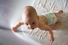 Baby in een luier in box Royalty-vrije Stock Afbeelding
