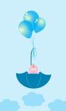 Baby in een paraplu op ballen royalty-vrije illustratie
