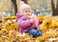 Baby in een stapel van bladeren Stock Afbeeldingen