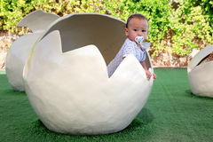 Baby in egg Royalty Free Stock Images