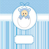 Baby within an egg. Baby boy arrival announcement card. Baby within an egg Royalty Free Stock Photos