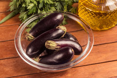Baby Eggplant into a bowl Royalty Free Stock Photography