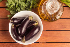 Baby Eggplant into a bowl Royalty Free Stock Photo