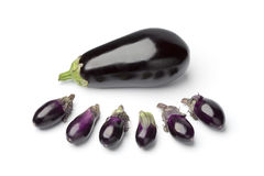 Baby eggplants and a large one. On white background Royalty Free Stock Photography