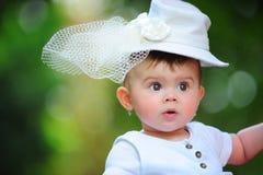 Baby with elegant hat stock photos
