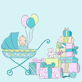 Baby elements. Hand drawn illustration.Drawn in Illustrator with charcoal brush to make it look like traditional pastel drawing Stock Images