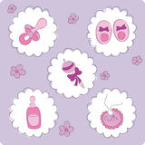 Baby elements for baby girl Royalty Free Stock Image
