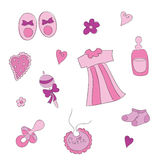 Baby elements for baby girl Royalty Free Stock Images