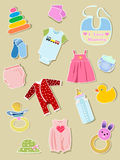 Baby Elements, Clothes And Illustration. Royalty Free Stock Photo