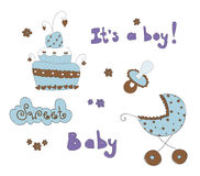 Baby Elements For Baby Boy Stock Image