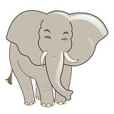 Baby elephant. A line-art image of a cute baby elephant smiling stock illustration