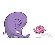 Baby elephant. Runs happy to his mother Stock Photo