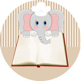 Baby elephant with blank cookbook. Scalable vectorial image representing a baby elephant with blank cookbook, isolated on white Stock Image